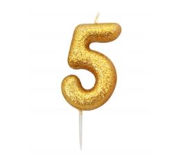 """Žvakutė """"5"""", auksinė"""