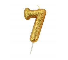 """Žvakutė """"7"""", auksinė"""