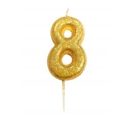 """Žvakutė """"8"""", auksinė"""