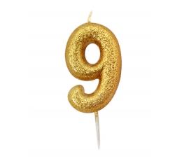 """Žvakutė """"9"""", auksinė"""