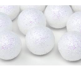 Burbulai-dekoracijos, balti blizgūs (9 vnt./3 cm)