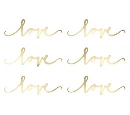 """Dekoracijos-karpiniai """"Love"""", auksinės (6 vnt.)"""
