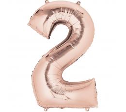 """Folinis balionas-skaičius """"2"""", rožinis auksas (85 cm)"""