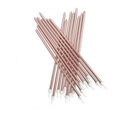 Žvakutės, ilgos rožinio aukso spalvos (16 vnt./18 cm)