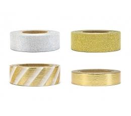 Lipnios juostelės dekoravimui, auksinės/sidabrinės (4 vnt./10 m)