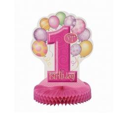 """Stalo dekoracija """"Pirmasis gimtadienis"""", rožinė"""