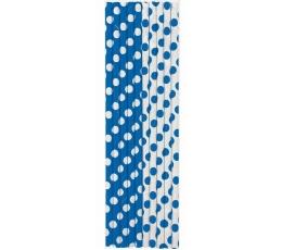 Šiaudeliai, taškuotai  mėlyni (10 vnt.)