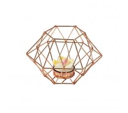 """Žvakidė-dekoracija """"Rožinio aukso ornamentas"""""""