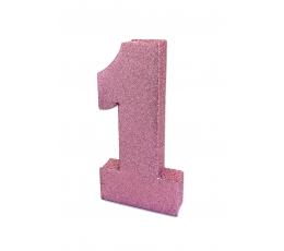 "Stalo dekoracija ""1"", rožinė blizgi"