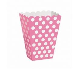 Dėžutės užkandžiams, taškuotai rožinės (8 vnt.)