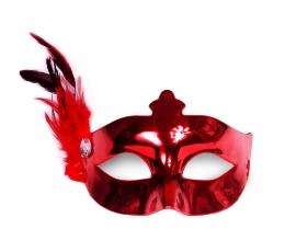 Domino kaukė su plunksna, raudona