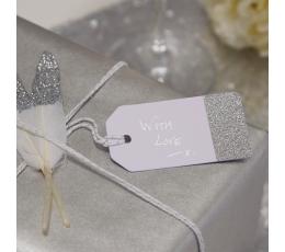 Etiketės, baltos-sidabrinės (10 vnt.)