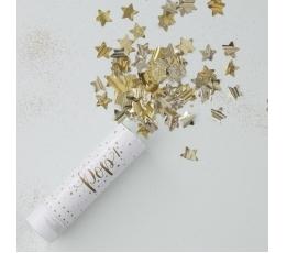 """Mini konfeti patranka """"Auksinės žvaigždutės"""" (15 cm)"""