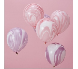 Balionai, rožiniai-violetiniai marmuriniai (8 vnt./30 cm)