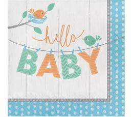 """Servetėlės """"Paukšteliai.Hello baby"""", melsvos (16 vnt.)"""