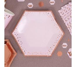 Lėkštutės, rausvos su rožinio aukso žvaigždėmis (8 vnt./20 cm)