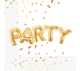 """Servetėlės """"Party"""", baltai auksinės (20 vnt.)"""