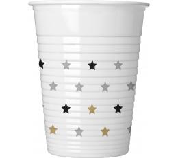 """Plastikiniai puodeliai """"Aukso sidabro žvaigždės"""" (8 vnt./200 ml)"""