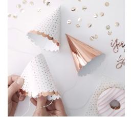 Mini kepuraitės, rožinio aukso spalvos (6 vnt.)
