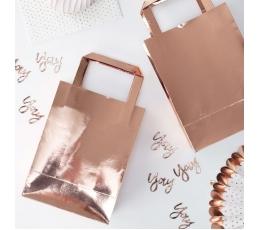 Dovanų maišeliai, rožinio aukso spalvos (5 vnt.)