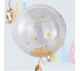 Guminiai balionai-orbz, skaidrūs su blizgiais aukso konfeti (3 vnt./91 cm)