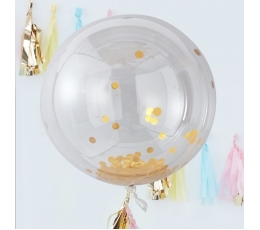 Foliniai balionai-orbz, skaidrūs su blizgiais aukso konfeti (3 vnt./91 cm)