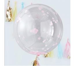 Foliniai balionai-orbz, skaidrūs su rausvais konfeti (3 vnt./91 cm)