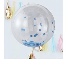 Foliniai balionai-orbz, skaidrūs su melsvais konfeti (3 vnt./91 cm)