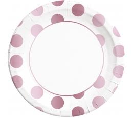 Lėkštutės, rožinio aukso taškuotos (8 vnt./23 cm)