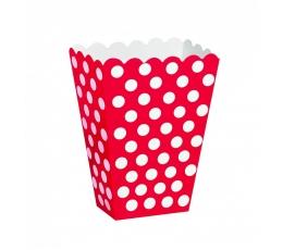 Dėžutės užkandžiams, taškuotai raudonos (8 vnt.)