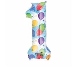 """Folinis balionas-skaičius """"1"""", su piešinėliais (85 cm)"""