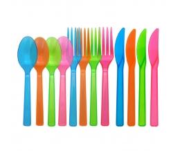 Stalo įrankiai, skaidrūs įvairiaspalviai (16-ai asmenų)