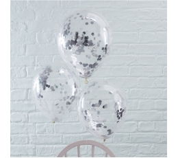 Balionai, skaidrūs su sidabriniais konfeti (5 vnt./30 cm)