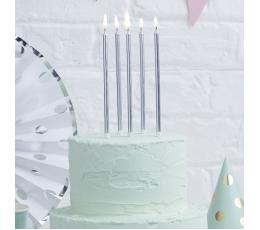 Žvakutės, ilgos sidabrinės (24 vnt.)