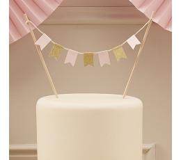 Torto dekoracija-girlianda, rožiniai auksinė
