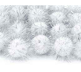 Pliušiniai burbuliukai-dekoracijos, balti su blizgučiais (2 cm/20 vnt.)