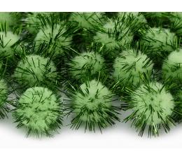 Pliušiniai burbuliukai-dekoracijos, žali su blizgučiais (2 cm/20 vnt.)