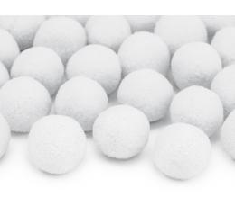Pliušiniai burbuliukai-dekoracijos, balti (2 cm/20 tk.)