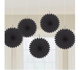 Kabančios dekoracijos-vėduoklės, juodos (5 vnt./15 cm)