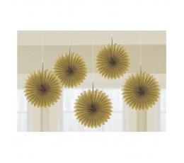 Kabančios dekoracijos-vėduoklės, aukso spalvos (5 vnt./15 cm)