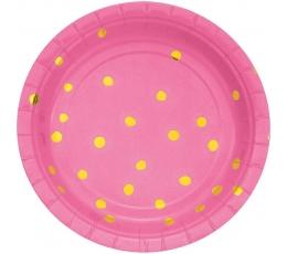 Lėkštutės, rožinės-auksinės taškuotos (8 vnt./18 cm)