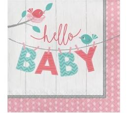 """Servetėlės """"Paukšteliai.Hello baby"""", rausvos (16 vnt.)"""
