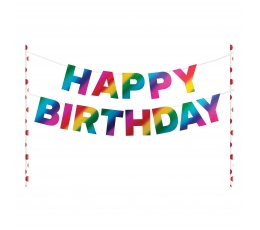 "Torto dekoracija ""Happy Birthday"", blizgi vaivoryštės spalvų"