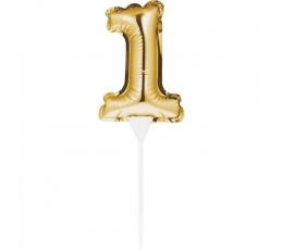 "Torto dekoracija-folinis skaičius ""1"", auksinis"