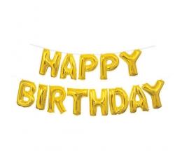"""Folinių balionų rinkinys """"Happy birthday"""", auksinis (35 cm)"""