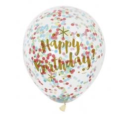 "Balionai ""Happy Birthday"", skaidrūs su spalvotais konfeti (6 vnt./30 cm)"