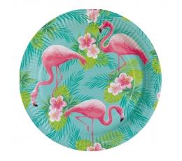 """Lėkštutės """"Rožiniai flamingai"""" (8 vnt./23 cm)"""
