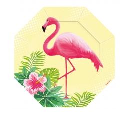 """Forminės lėkštutės """"Rožiniai flamingai"""" (8 vnt./18 cm)"""