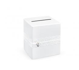 """Palinkėjimų dėžė """"Balti mezginiai"""" (24x24x24 cm)"""