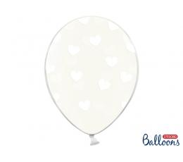 Balionas, skaidrus su baltomis širdelėmis (30 cm)